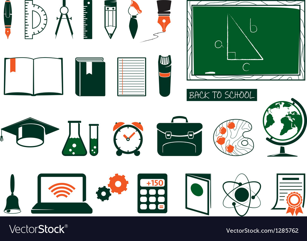Set of school supplies vector image