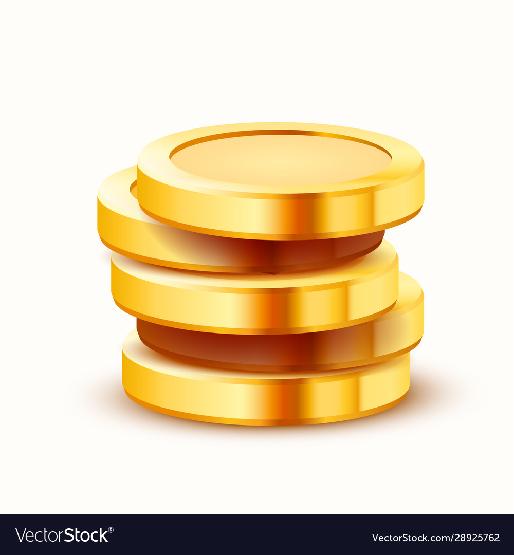 Stack golden coins isolated on white background