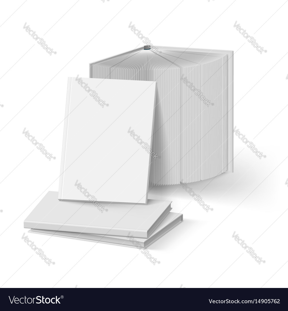 Stack of blank gray books mockup template on vector image