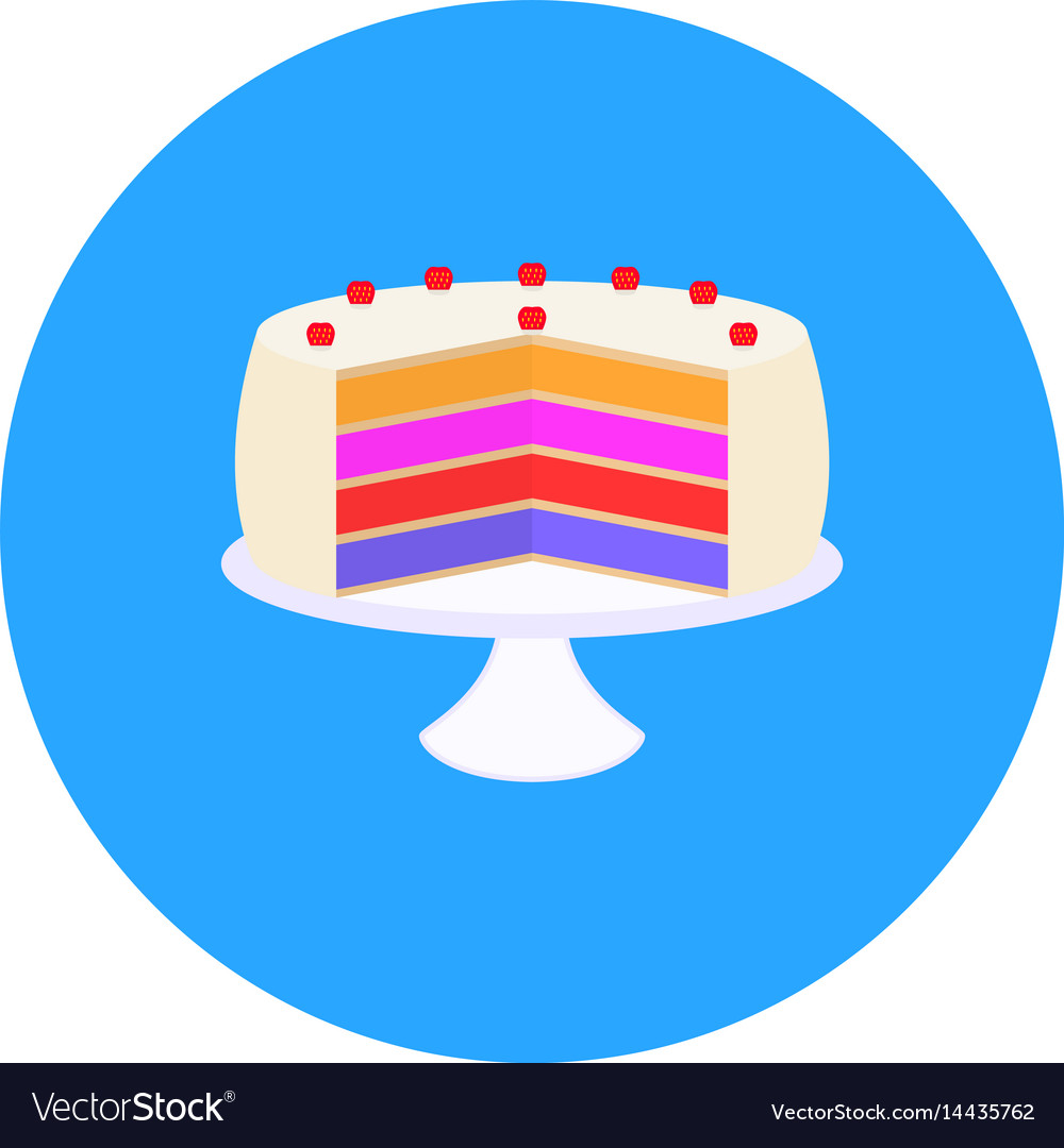 Sweet cake with strawberries on a plate vector image
