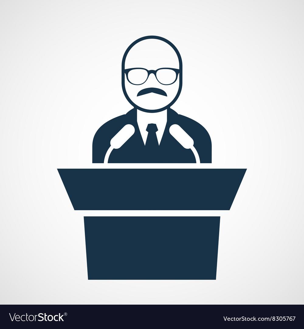 Bald-headed man at rostrum - speaker