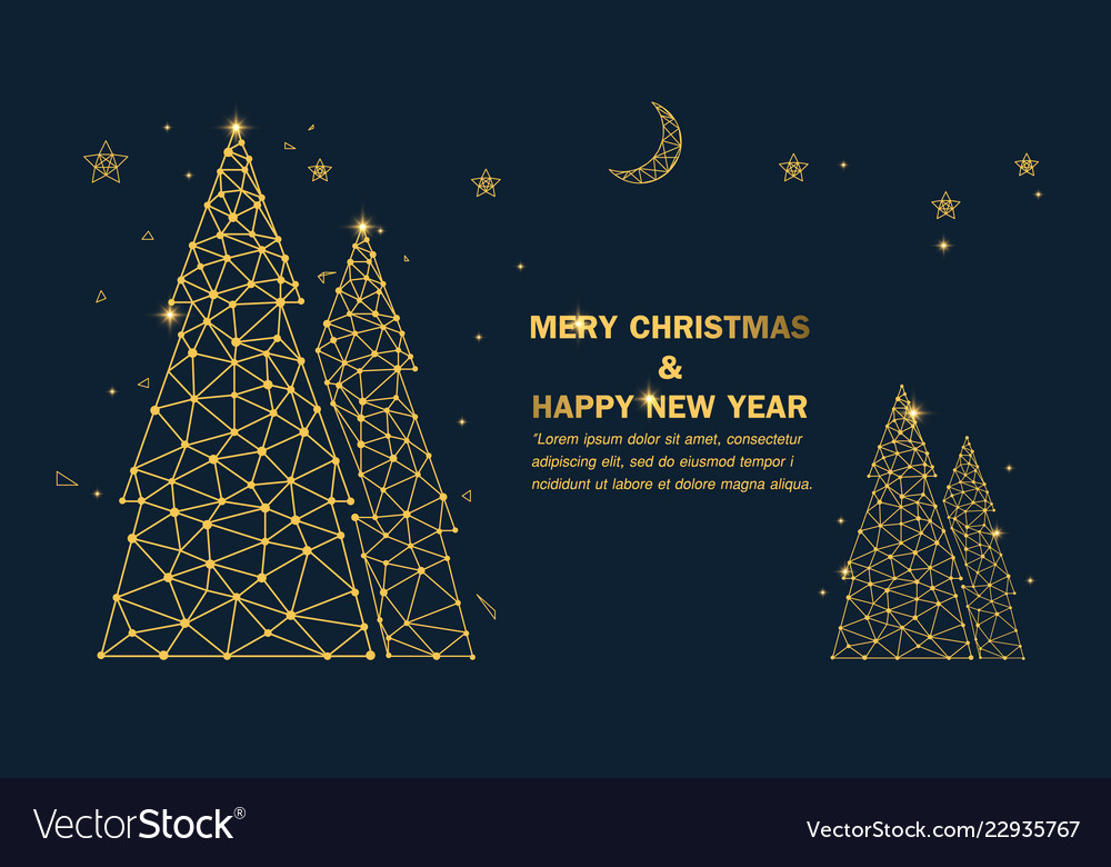 Christmas tree with stars and sparkles background
