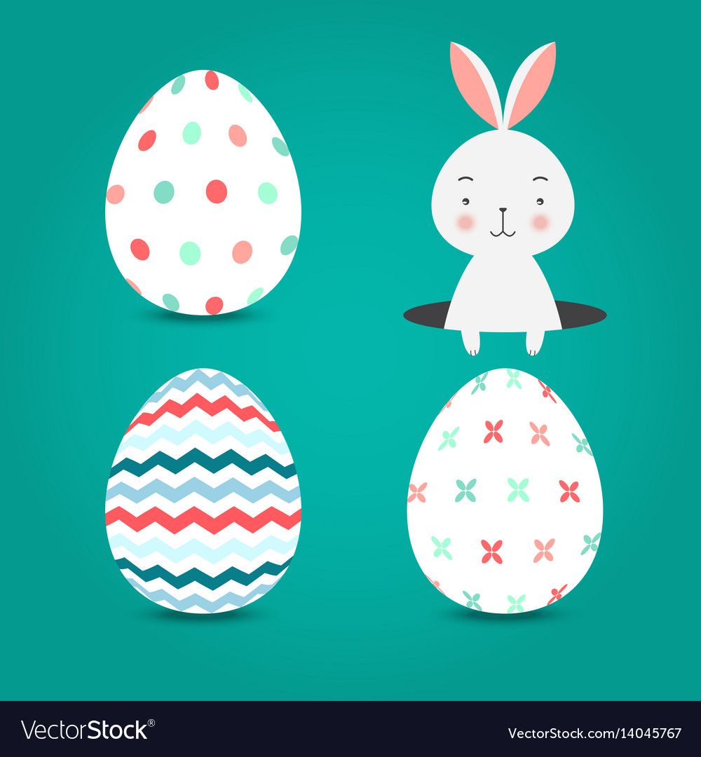Easter eggs set collection and bunny on turquoise vector image