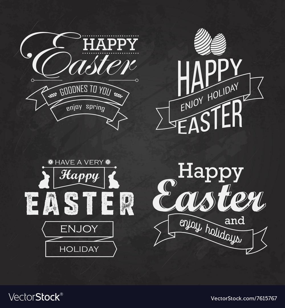 Easter label set on blackboard