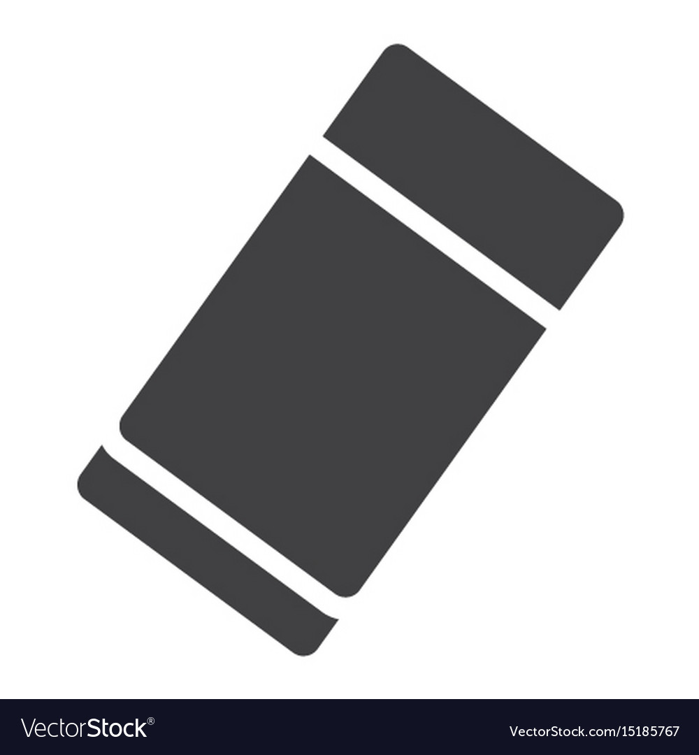 Eraser solid icon education and school rubber vector image