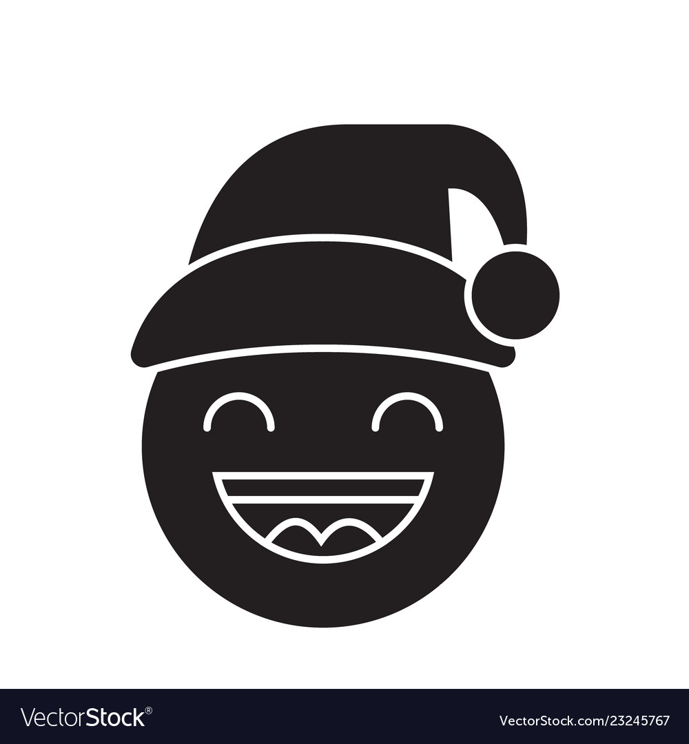 happy new year emoji black concept icon vector image