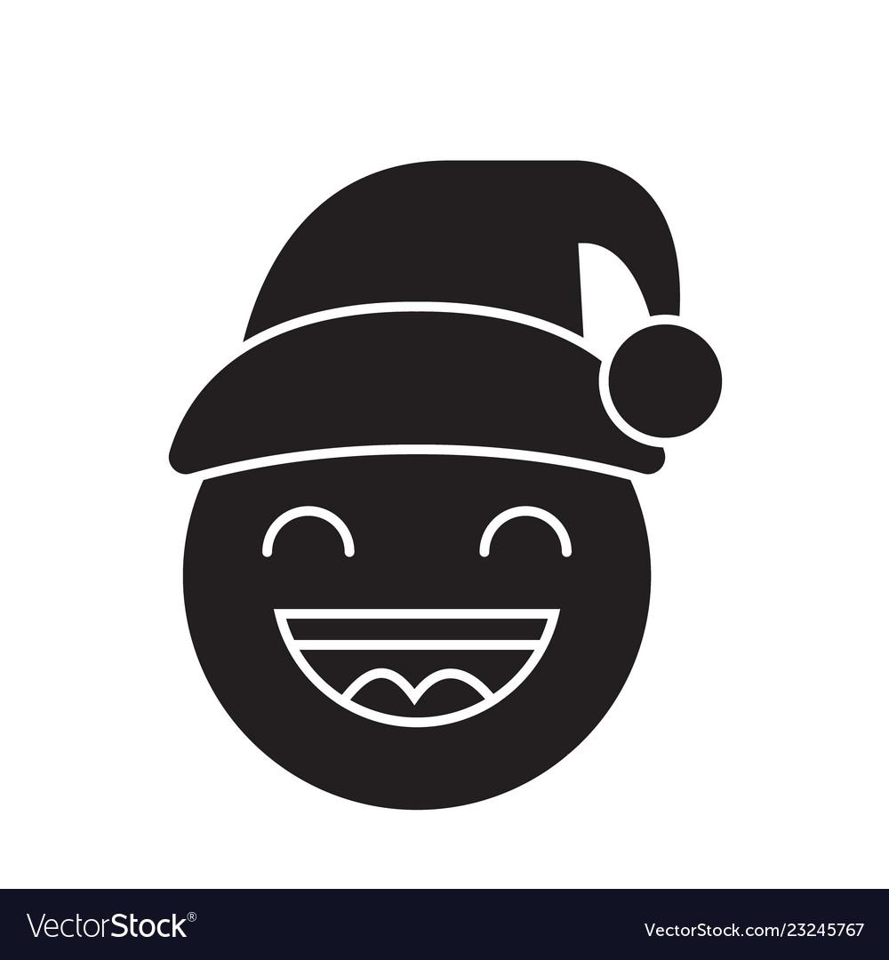 happy new year emoji black concept icon vector image