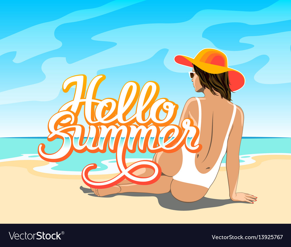 Hello summer lettering with girl