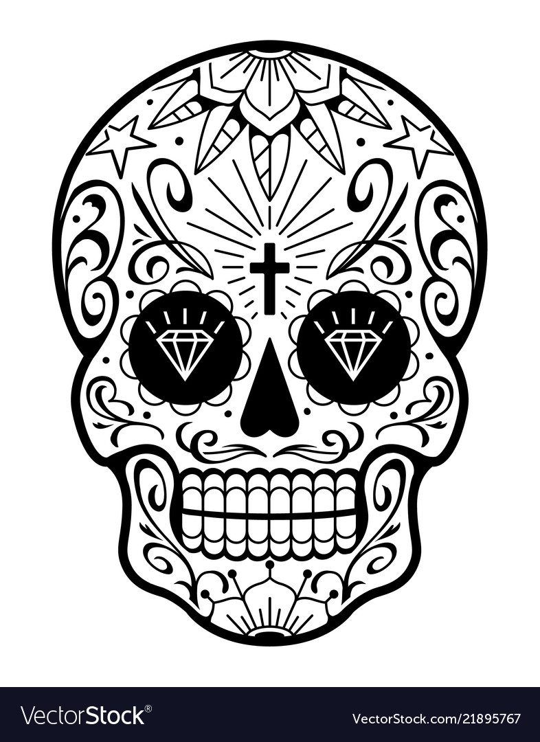 Mexican skull with patterns