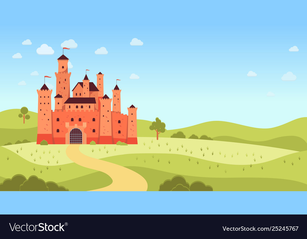 Natural landscape with medieval castle and