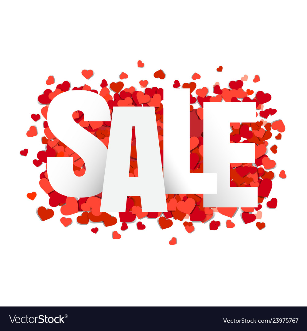 Sale banner with hearts