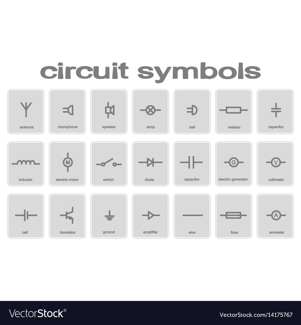 Set of monochrome icons with circuit symbols