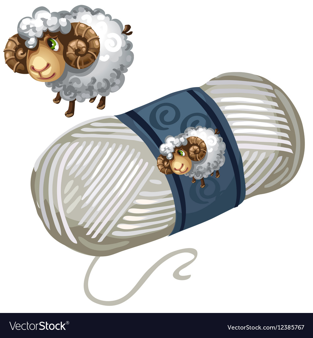 Sheep and roll of white wool thread