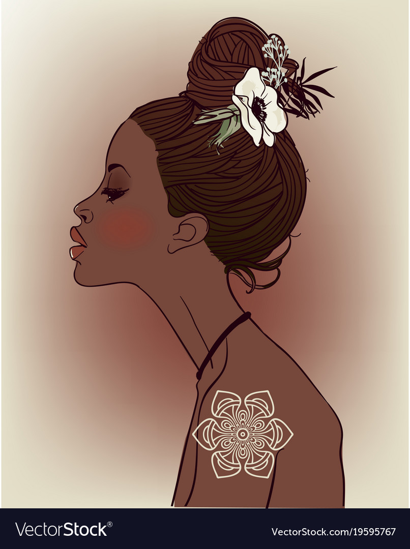 Young beautiful african woman with flowers vector image izmirmasajfo