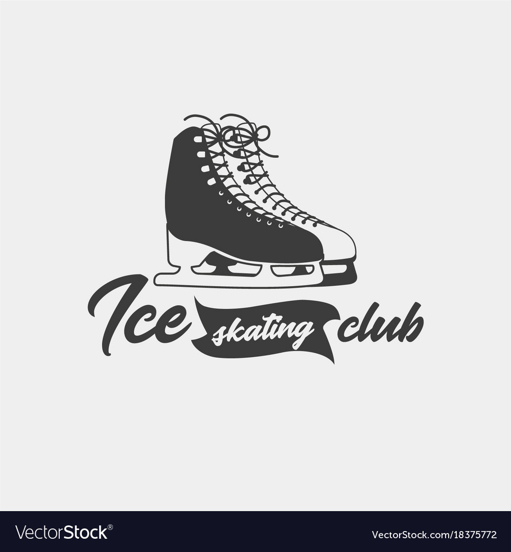 badge template for ice skating club royalty free vector