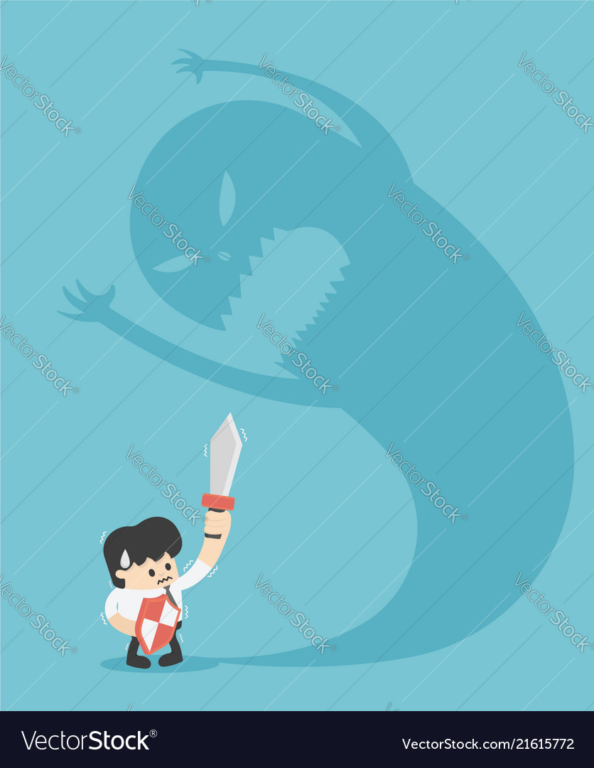 businessman trying to fight with monster shadow vector image