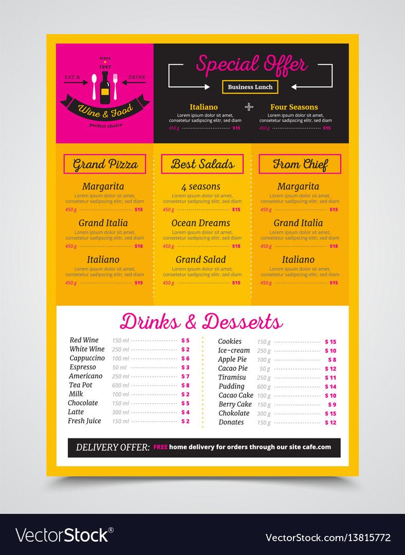 Cafe menu template realistic image