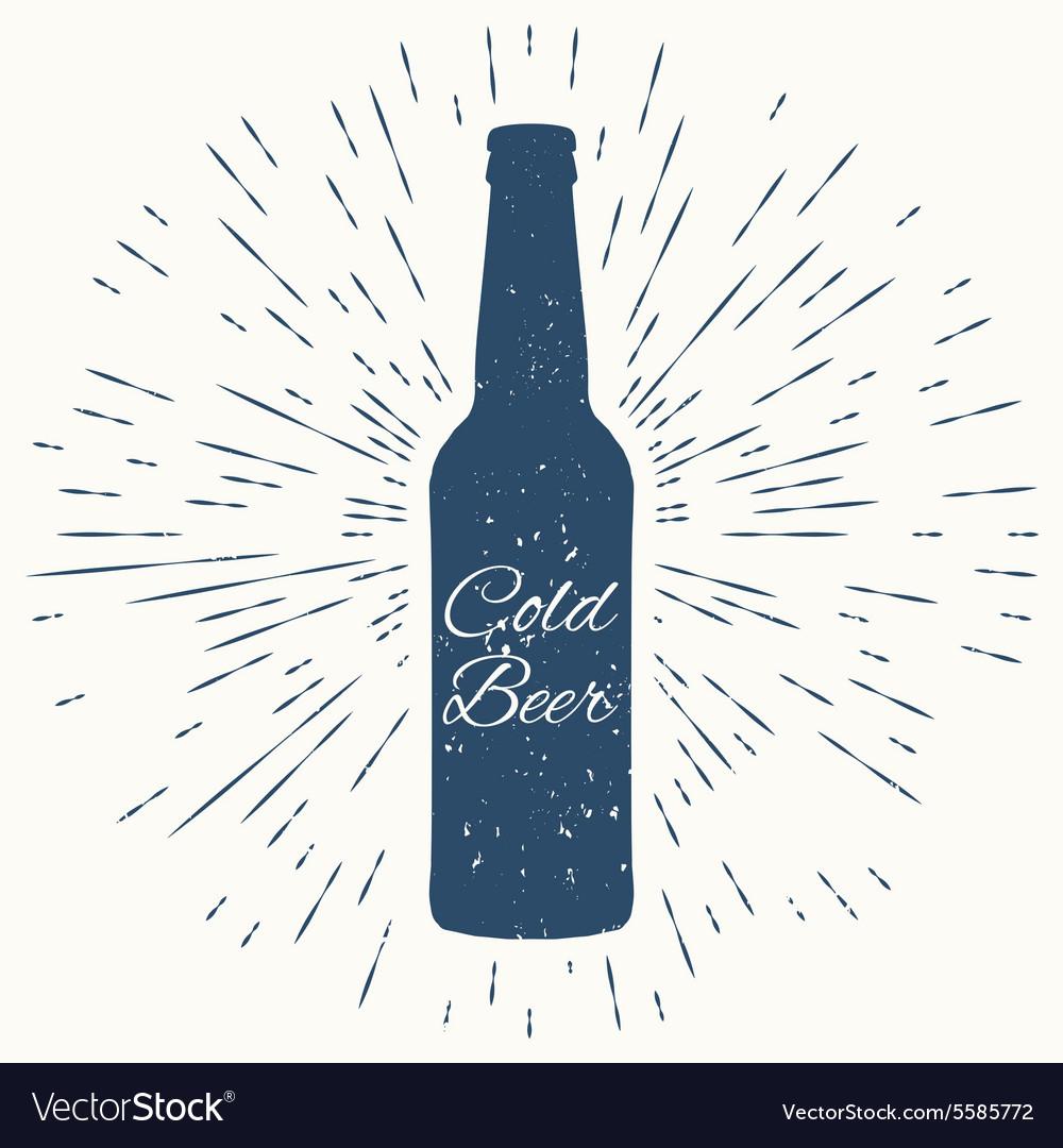 Cold beer hipster vintage label