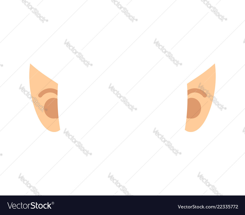 elf ears isolated template portrait royalty free vector