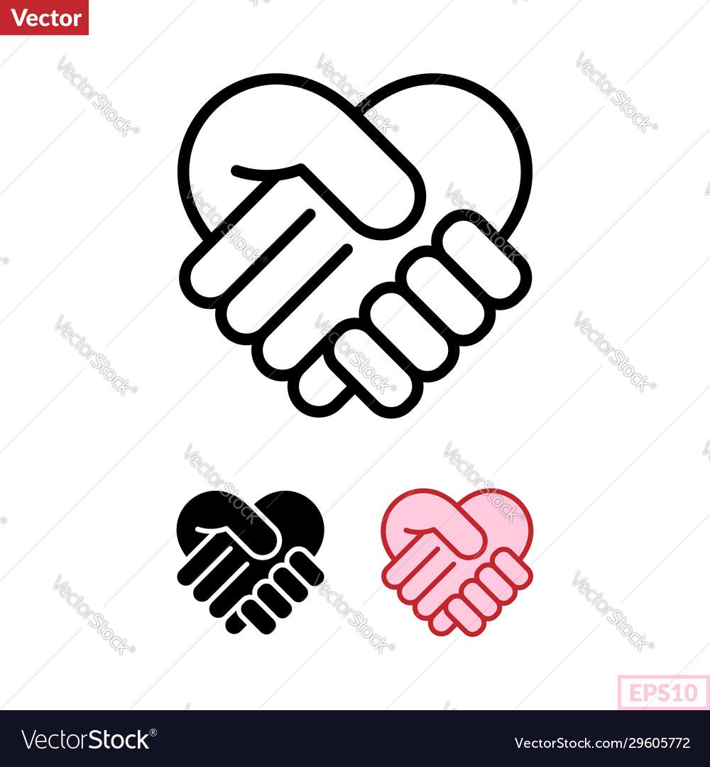 Handshake heart symbol icon