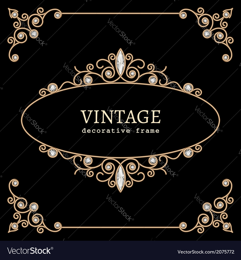 Jewelry gold vignette vector image