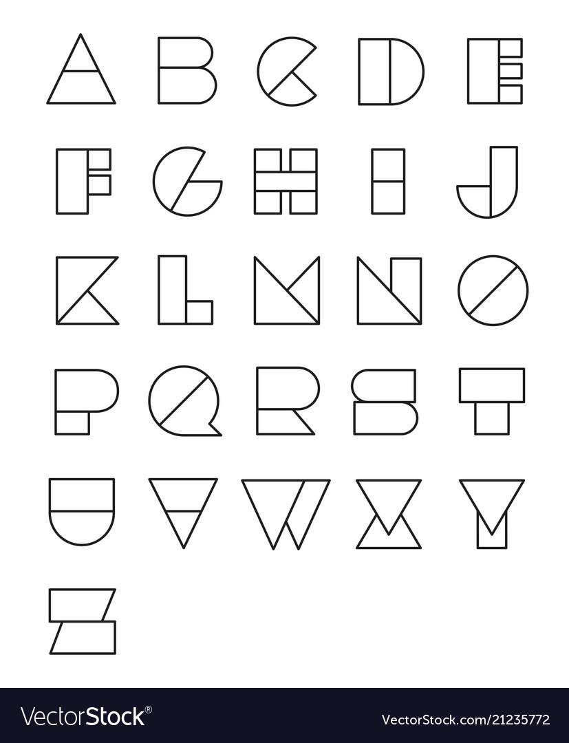 Line geometric font design abstract modern