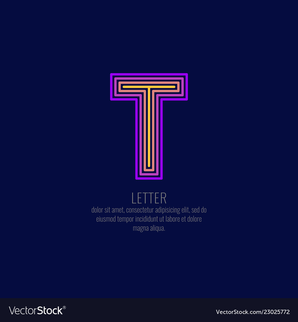 Modern linear logo and sign letter t