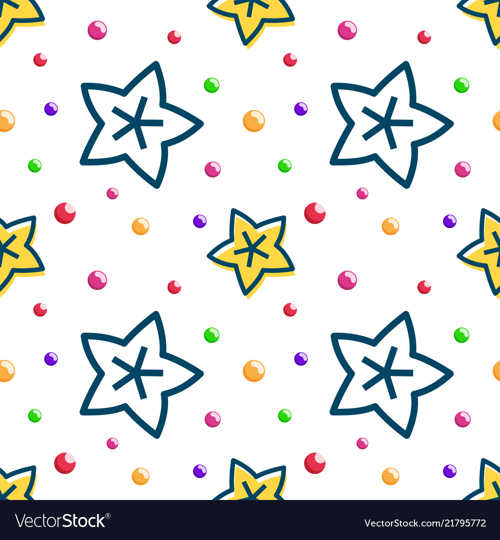Outline star fruit tropical fruit seamless pattern