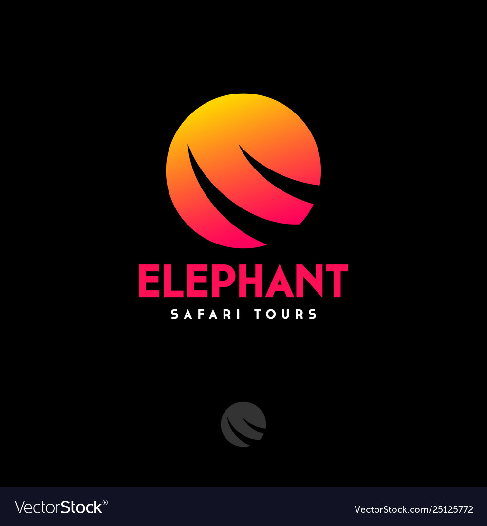 Safari logo travel agency silhouette elephant tusk
