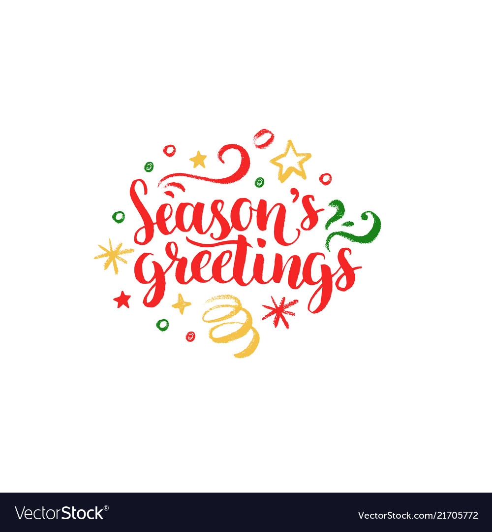 Seasons greetings lettering on white background