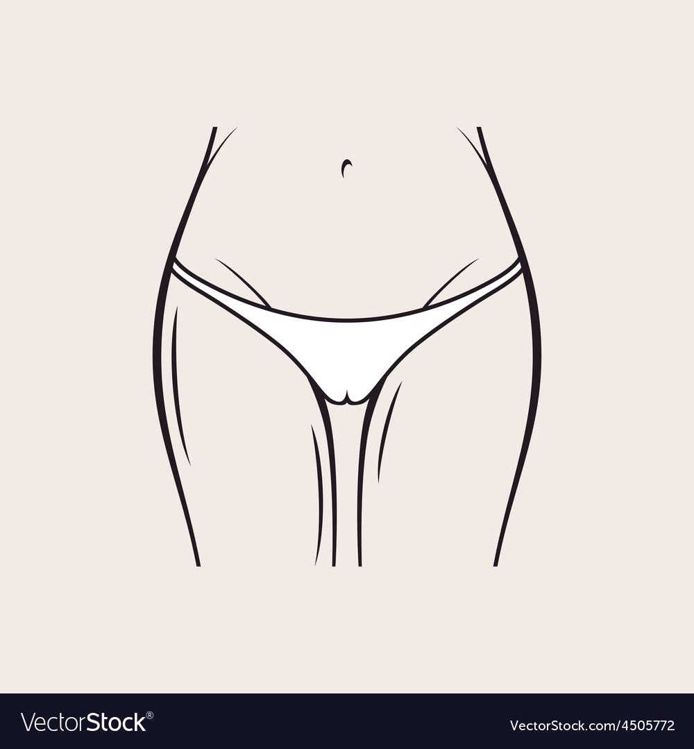 Sexy white panties icon women thong slim figure vector image