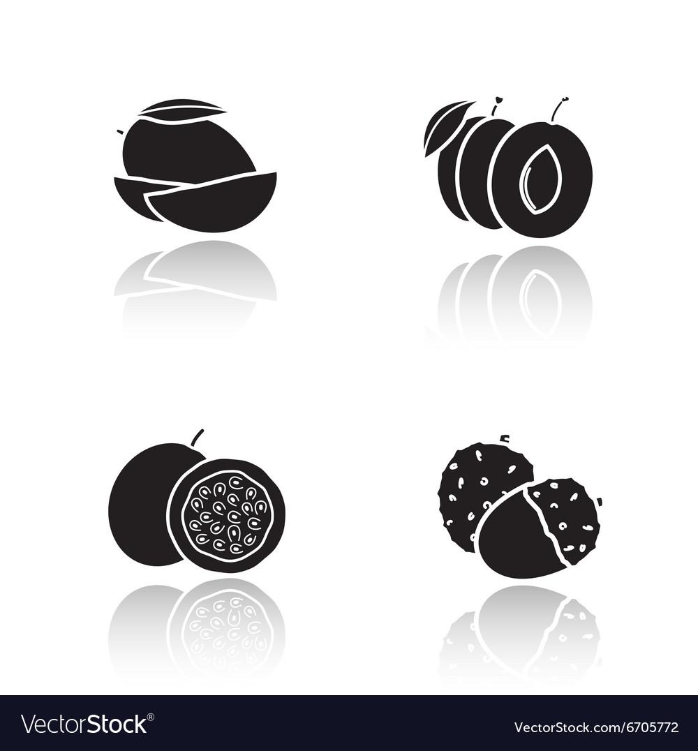 Sliced fruits drop shadow icons set