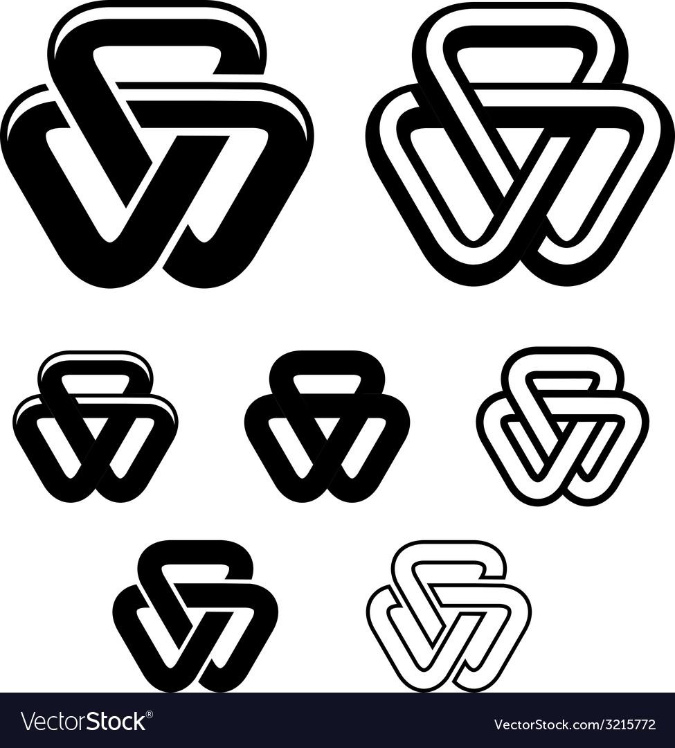 Line Drawing Unity : Unity triangle black white symbols royalty free vector image
