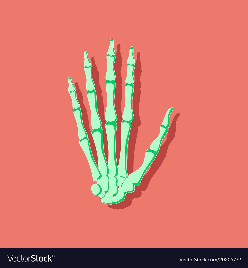 Wrist bone paper sticker on stylish background Vector Image