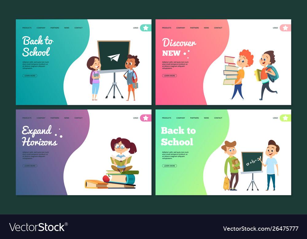 Back to school landing page set web