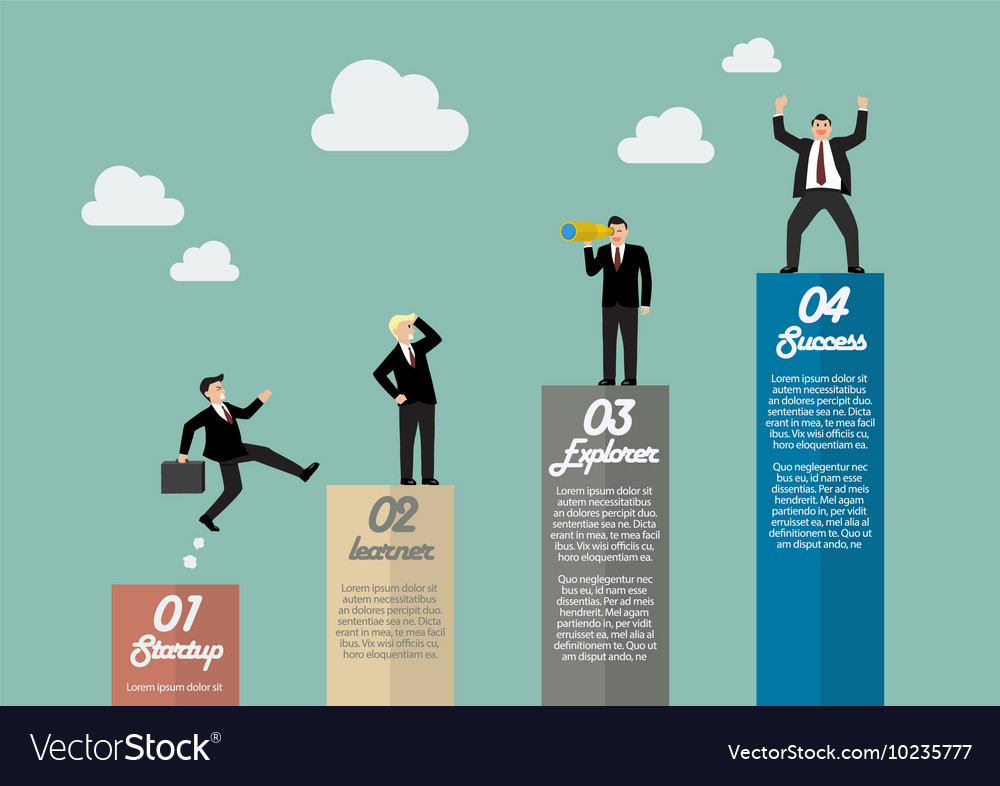 bar graph infographic with businessmen in various vector image