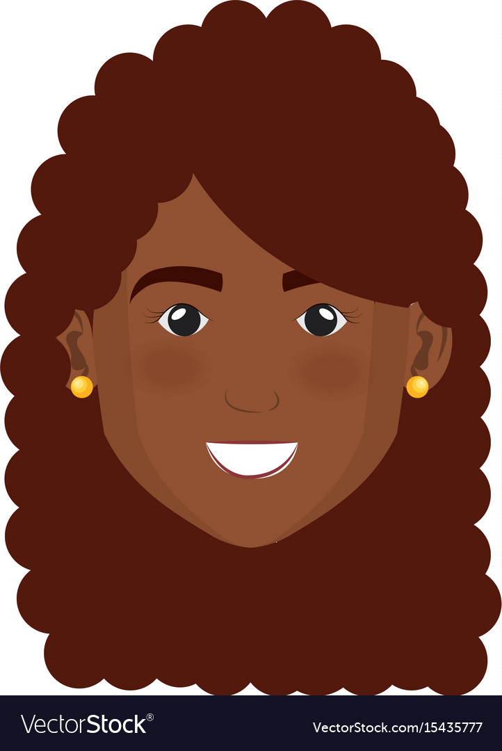 Black beautiful and young woman head vector image