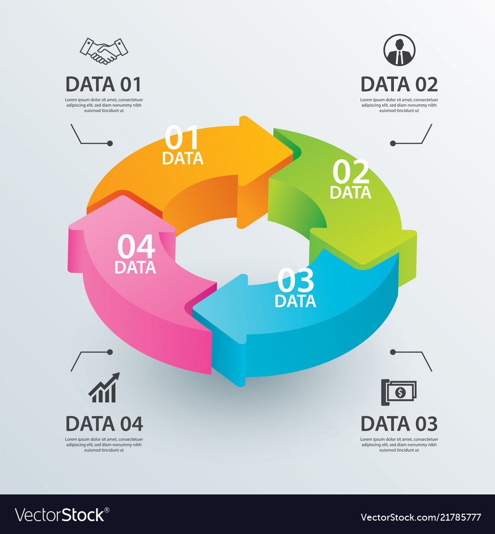 Business circle arrows infographic template with