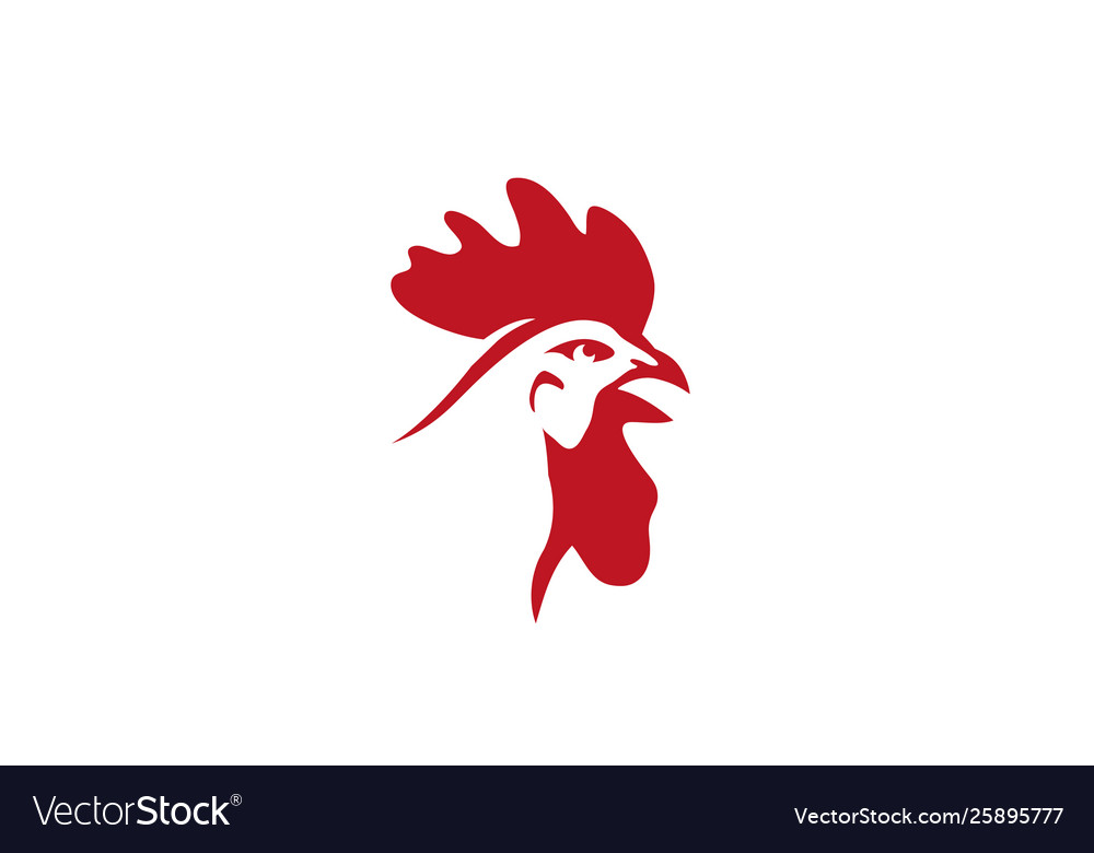 Creative red rooster head logo design symbol