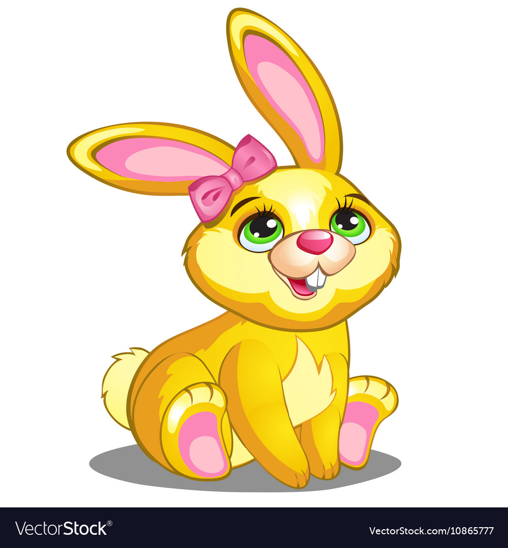 Cute yellow bunny with pink bow and ears