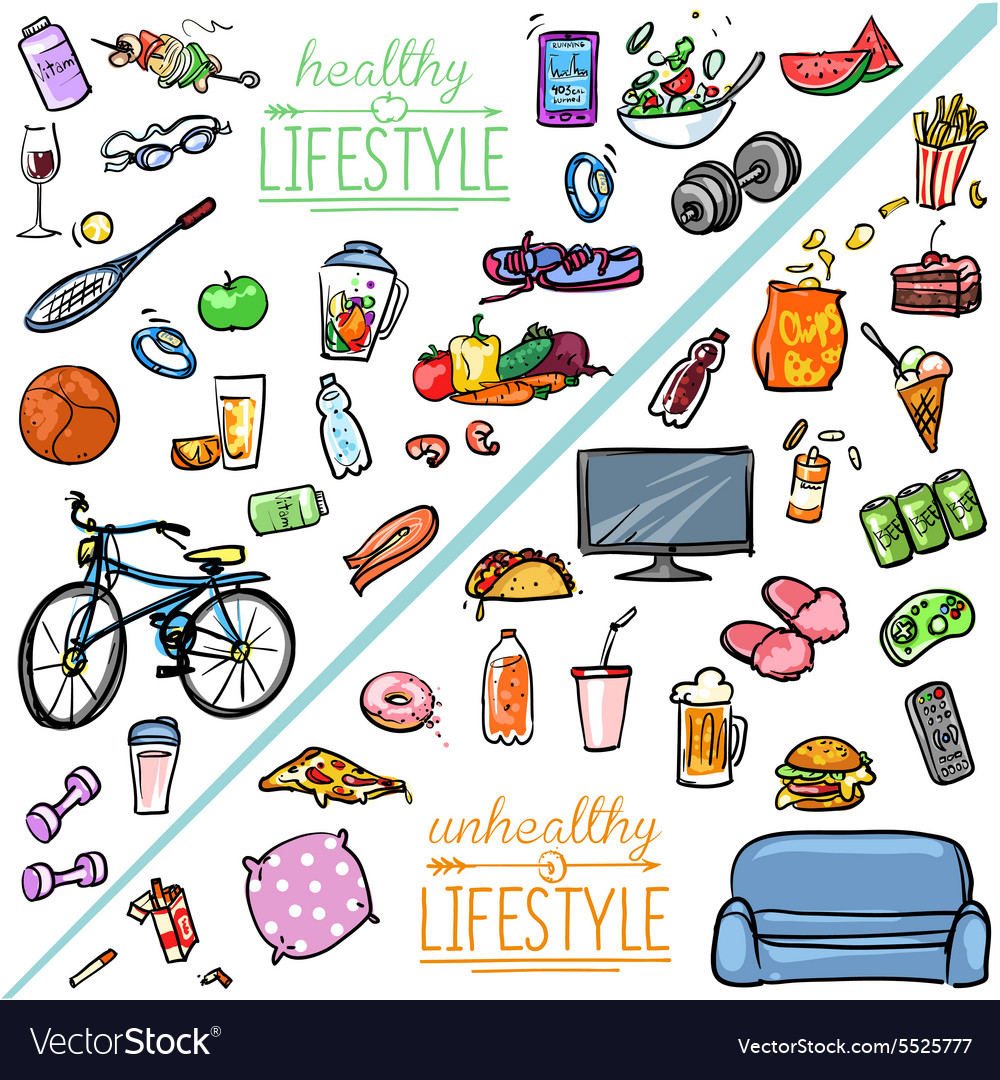 healthy lifestyle vs unhealthy lifestyle vector image