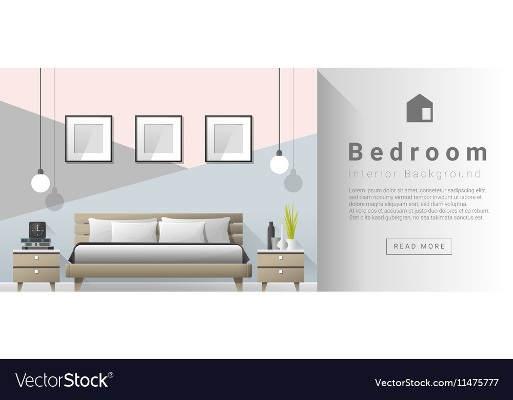 Interior Design Modern Bedroom Background 2 Vector Image
