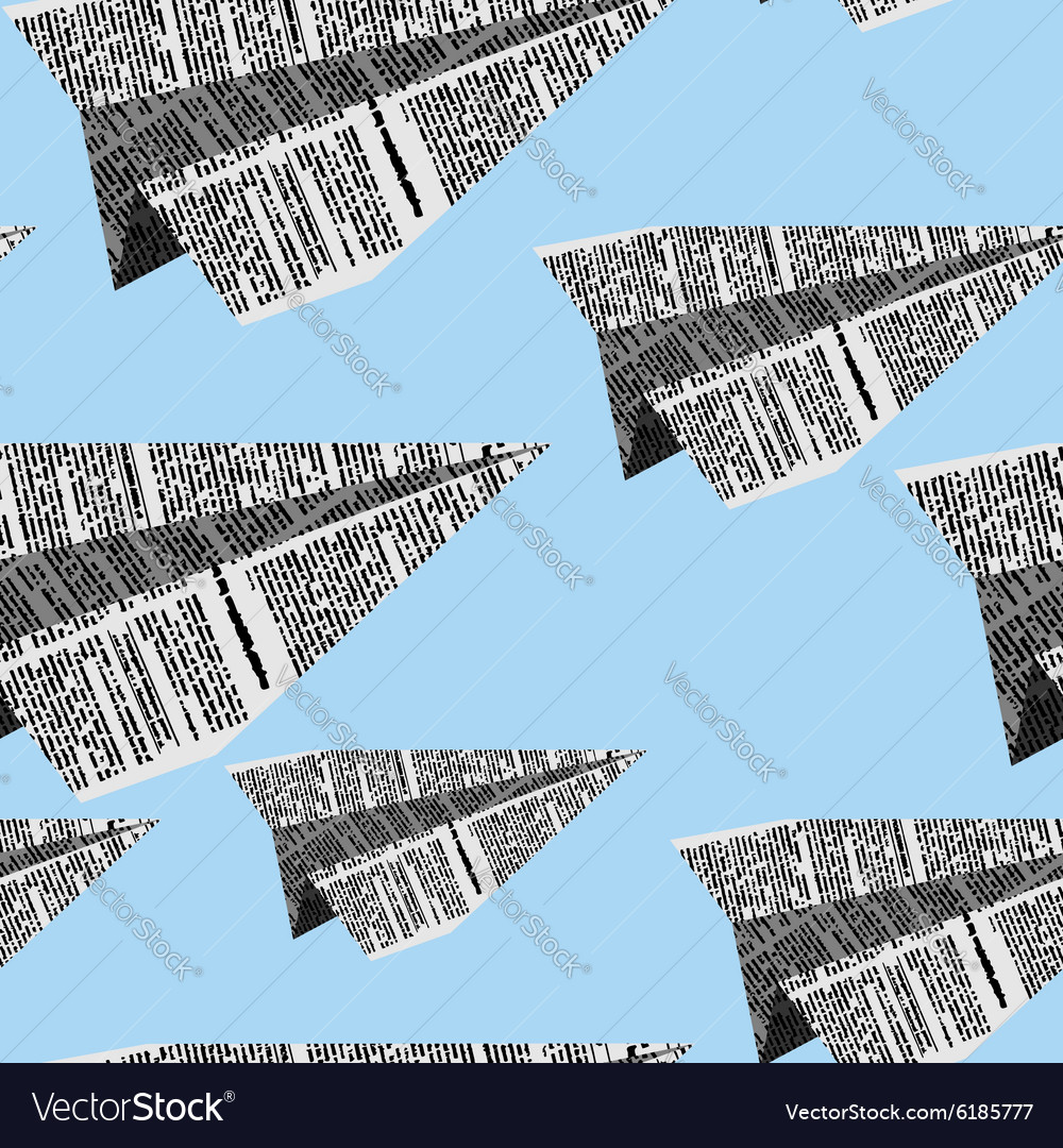 Paper planes seamless pattern on a blue background