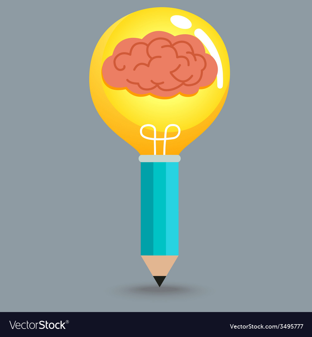 Pencil Brain Bulb vector image