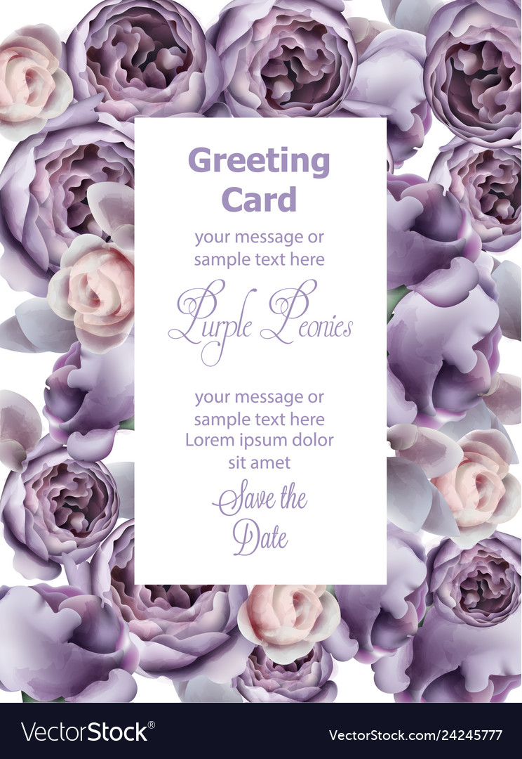 Purple peony flowers card watercolor