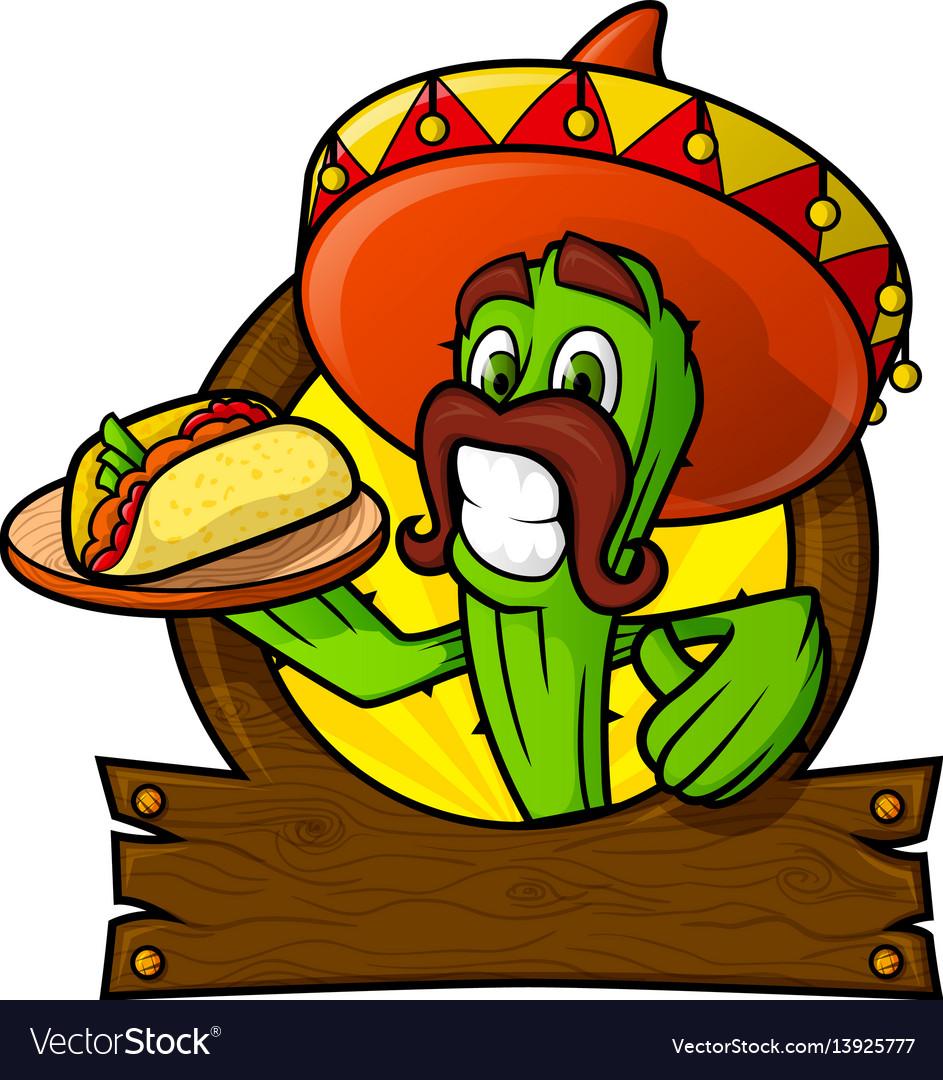 Sympathetic cactus with a mexican taco vector image