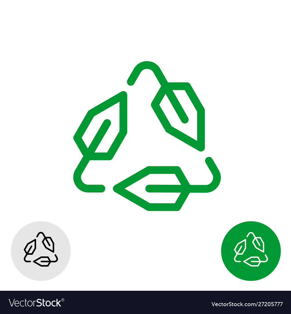 Tech recycle symbol line style logo ecological