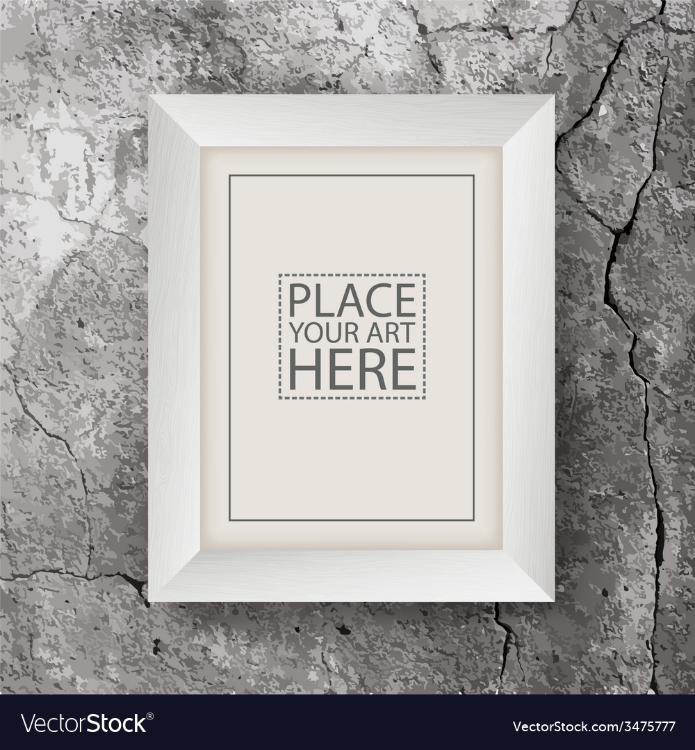 White wooden frame on concrete cracked wall Vector Image