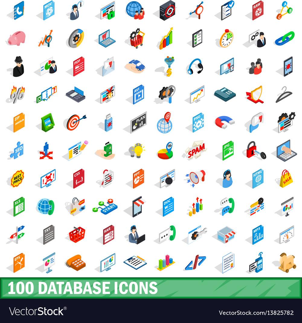 100 database icons set isometric 3d style