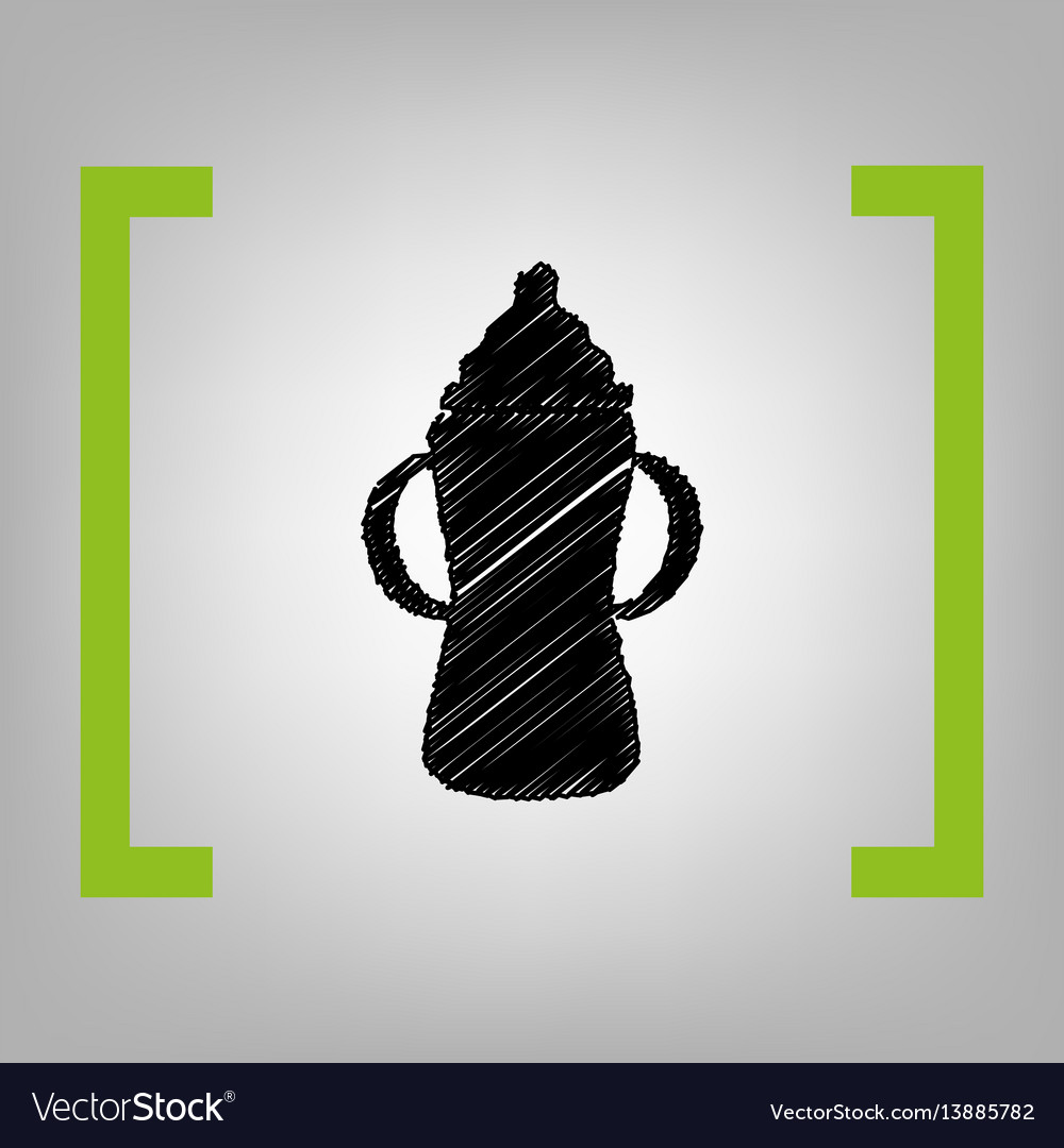 Baby bottle sign black scribble icon in vector image